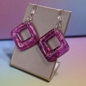 Purple Butterfly Glitter Resin Dangle Earrings